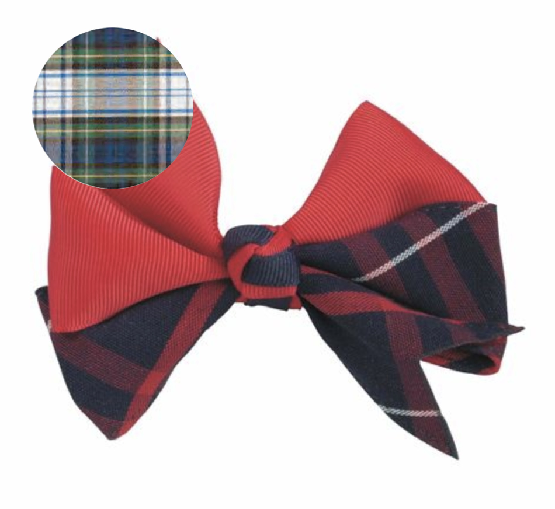 TRINITY EPISCOPAL SCHOOL - Plaid & Ribbon Bow With Two-Toned Ribbon Knot